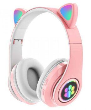Draadloze kinder bluetooth 5.0 hoofdtelefoon cat-ear pv33 - roze