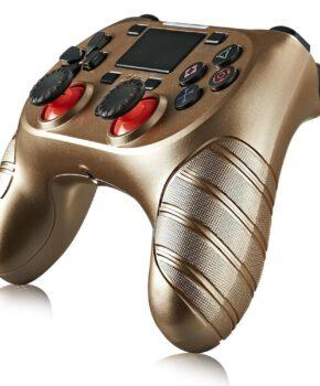 Draadloze controller geschikt voor Playstation 4 met trilfunctie - goud