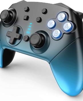 Bluetooth controller geschikt voor Nintendo Switch Pro & PC - blauw