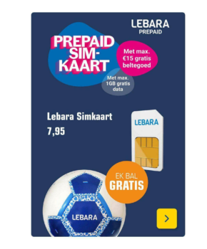 Lebara Prepaid simkaart met 15 euro beltegoed - Gratis EK voetbal