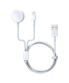 Devia 2 in 1 Lightning + Apple Watch Oplaadkabel - wit