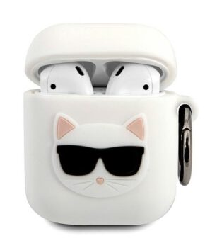 Karl Lagerfeld Airpod - Airpod 2 Silicone AirPods Case - Wit - Choupette
