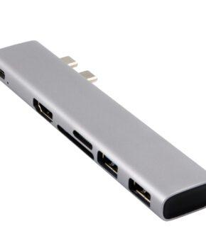 6 in 1 adapter voor macbook - 2x USB 3.0; SD; MicroSD; USB-C; HDMI - zilver