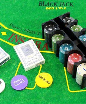 Texas holdem pokerset - 200 fiches & pokermat